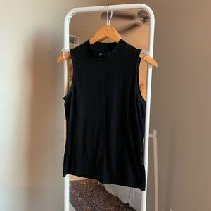 Madewell Black mockneck sleeveless top